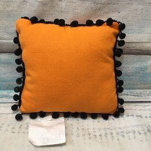 Trick Or Treat Pom Pom Trim Halloween Throw Pillow